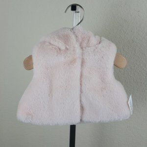 NWT First Impressions faux-fur hooded vest 0-3M